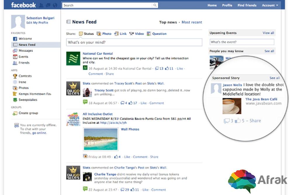 بازاریابی در فیسبوک : Sponsored Story