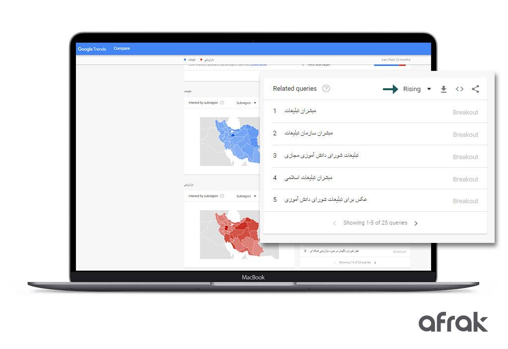 گوگل ترند چیست : در گوگل ترندز میتوانید از کلمات کلیدی که میزان ترافیک آنها رو به افزایش است، مطلع شوید